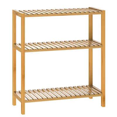 Casaria Standregal, Badregal Holzregal Bambus • vielseitig einsetzbar • stabile Konstruktion • Holz Klarlack lackiert • sehr pflegeleicht