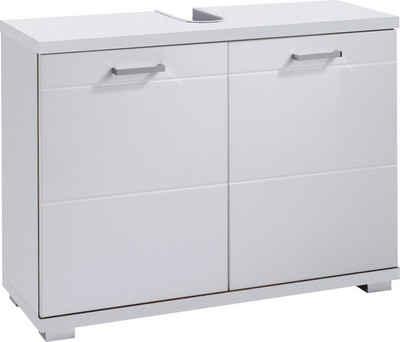 byLIVING Waschbeckenunterschrank »Nebraska« Breite 80 cm, Badezimmerschrank mit Metallgriffen, MDF-Fronten in Hochglanz-Optik und Ausschnitt für Abwasserleitung