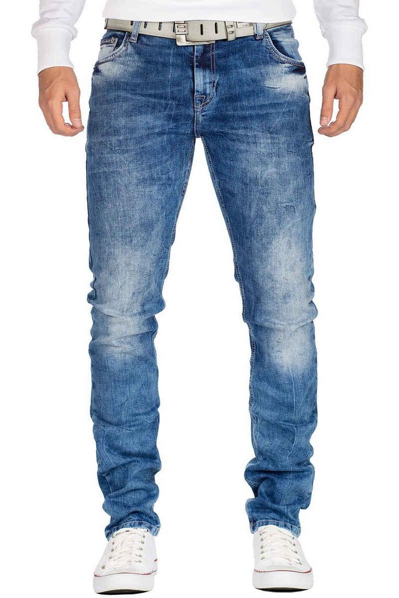Cipo & Baxx Slim-fit-Jeans »BA-CD533 Freizeithose mit stonewashed Effekten« Slim fit Jeans Hose im Casual Style und verzierten Gesäßtaschen