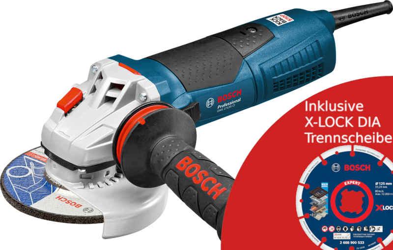 Bosch Professional Winkelschleifer »125 GWS 17-125 CI Kabelgebunden (060179G002) +X-LOCK DiaTrennscheibe 125x22.23mm EXP Trennschleifer«, max. 11500 U/min