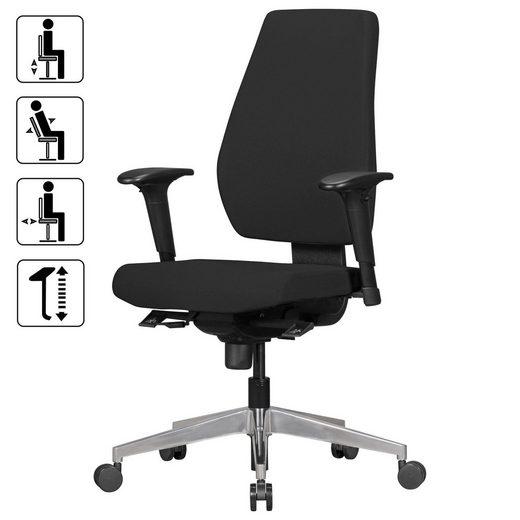 FINEBUY Schreibtischstuhl »SuVa3435_1« Bürostuhl DAVE mit Stoff-Bezug Design Schreibtisch-Stuhl mit Synchromechanik & Armlehnen Drehstuhl Drehsessel ergonomisch 120 kg