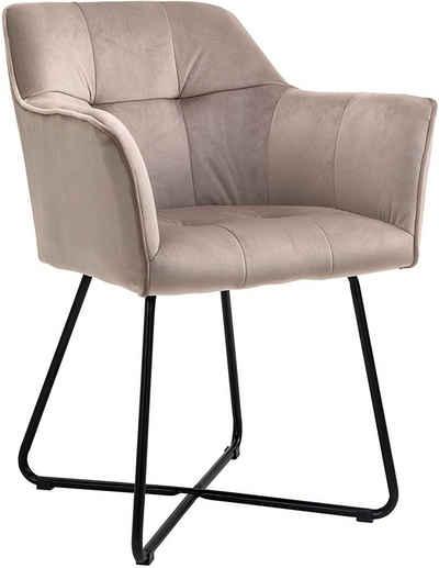 Junado® Armlehnstuhl »Kirin«, Polsterstuhl mit Absteppungen Samtbezug in Taupe und schwarzen Metallfüßen