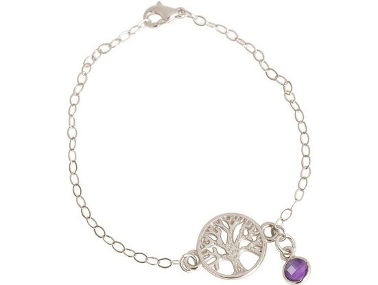 Gemshine Charm-Armband »YOGA Lebensbaum und lila Amethyst«, Made in Spain