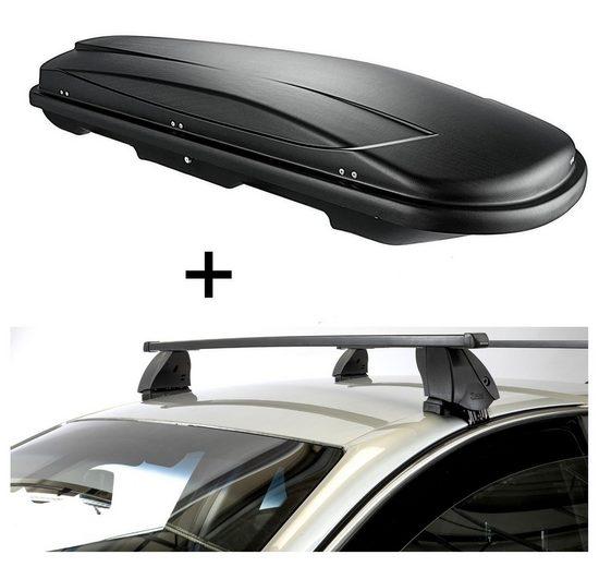 VDP Fahrradträger, Dachbox VDPJUXT400 400 Liter schwarz abschließbar + Dachträger K1 MEDIUM kompatibel mit Audi A4 (B7/8E/8H) (5Türer) 00-07