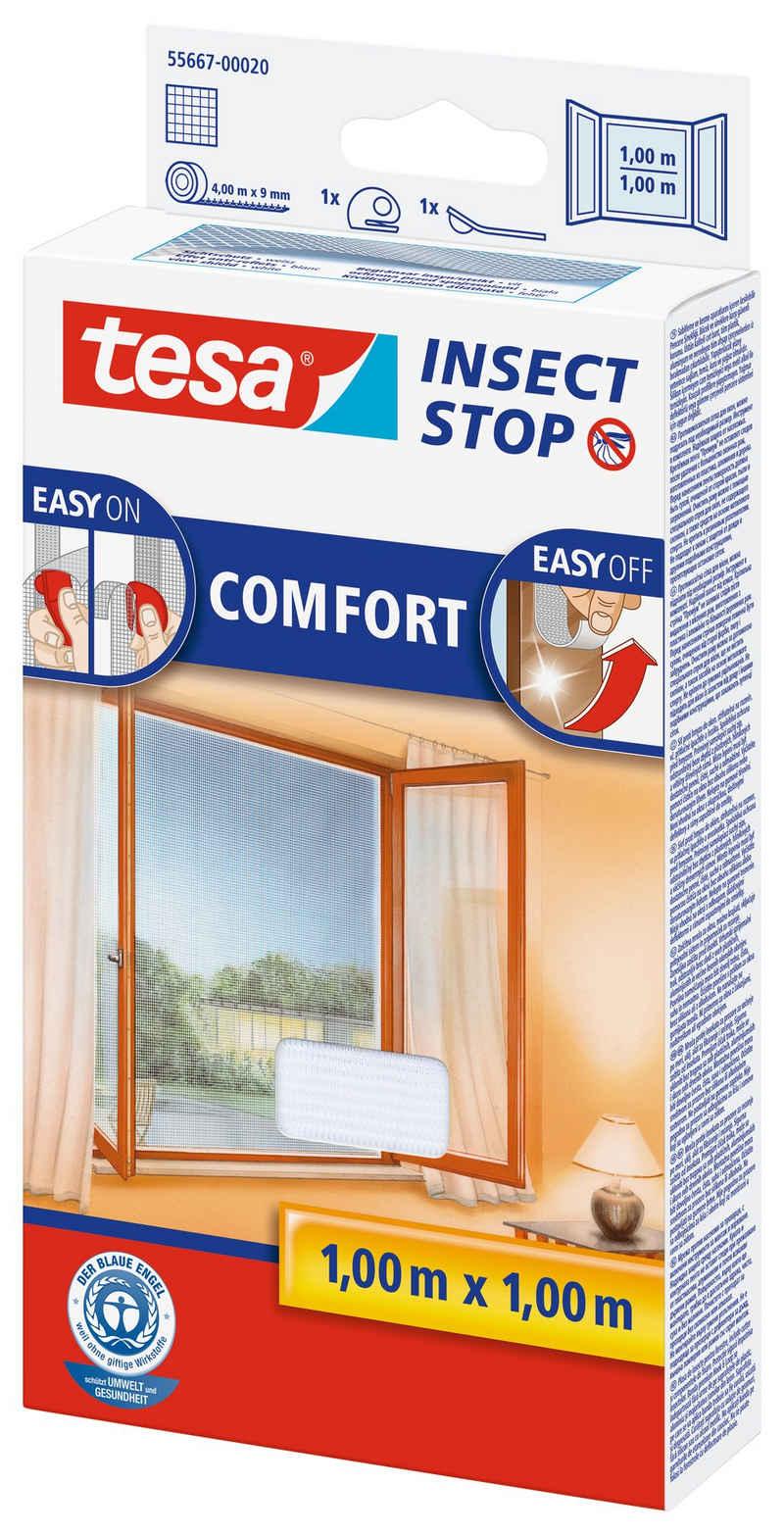 tesa Insektenschutz-Fenster, (1-St), Insektenschutz, inklusive Andrück- und Schneidehilfe, Waschbar