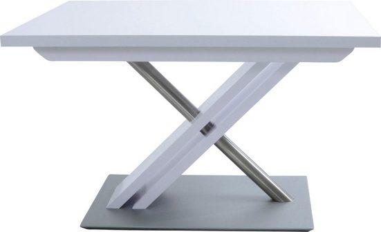 K+W Komfort & Wohnen Esstisch »Santos II«, Esstisch rechteckig, Untergestell mit MDF und Edelstahlrohr, mit Schiebe- Ansteckplatte