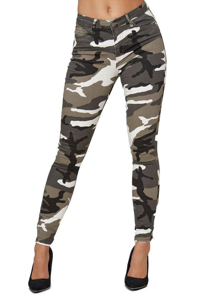 i dodo Skinny-fit-Jeans »3544« Damen Skinny Stretch Jeans Basic Design Tarnmuster Hose