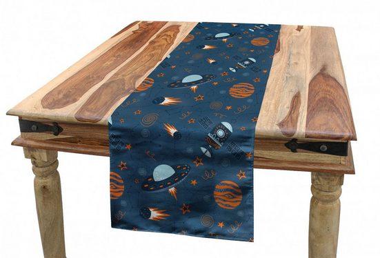 Abakuhaus Tischläufer »Esszimmer Küche Rechteckiger Dekorativer Tischläufer«, Ausländer Satelliten-Sterne Space Theme