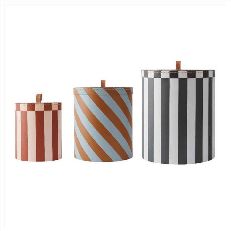 OYOY Aufbewahrungsbox »Storage Box Stripe« (3er Set), 3er Set, Gestreift, Boxen, Ordnung, Schachtel mit Deckel, Streifen, Karton, Rund, Aufbewahrung