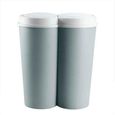 Deuba Mülleimer »Duo Bin«, 50 L 2fach Trennsystem 2x25 L Küche Abfalleimer Müllbehälter Mülltrennung Grün