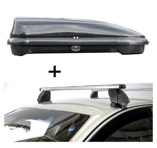 VDP Fahrradträger, Dachbox VDPFL320 320 Liter schwarz glänzend + Dachträger K1 PRO Aluminium kompatibel mit Lexus CT Hybrid (5Türer) ab 11