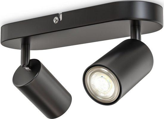 B.K.Licht Deckenspots, 2-flammige Spotlampe, schwenkbar, drehbar, GU10, Schwarz, ohne Leuchtmittel