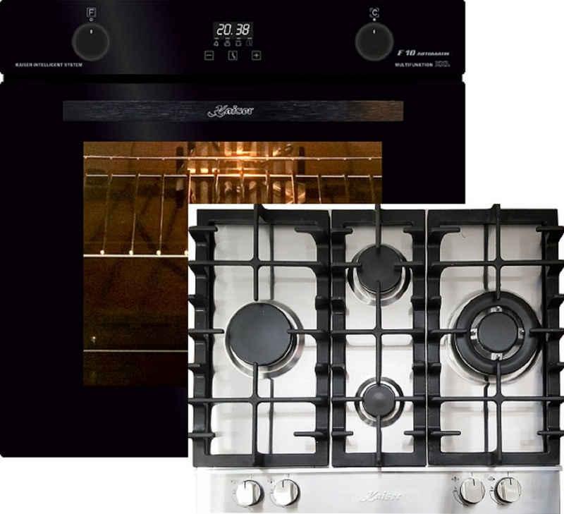 Kaiser Küchengeräte Gasherd-Set EH 6367+KG 6364, Elektro Backofen, Autark, 79L, Selbstreinigung, Drehspieß, Einbau Backofen,10Funktionen,Pizzafunktion,Heißluftsystem, Infrarotgrill,Emaile Easy clean,Intelligent system+Einbau Gasherd, 60cm,Edelstahl (Inox) Kochfeld, 3,8 Kw WOK
