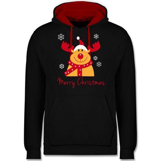 Shirtracer Hoodie »Merry Christmas Rentier - Weihnachten & Silvester - Unisex Damen & Herren Kontrast Hoodie - Pullover & Hoodies« pullover weihnachten