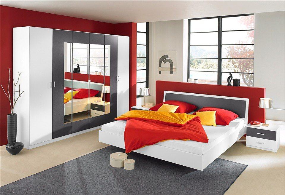 rauch Schlafzimmerprogramm (4-tlg.) in weiß/graumetallic