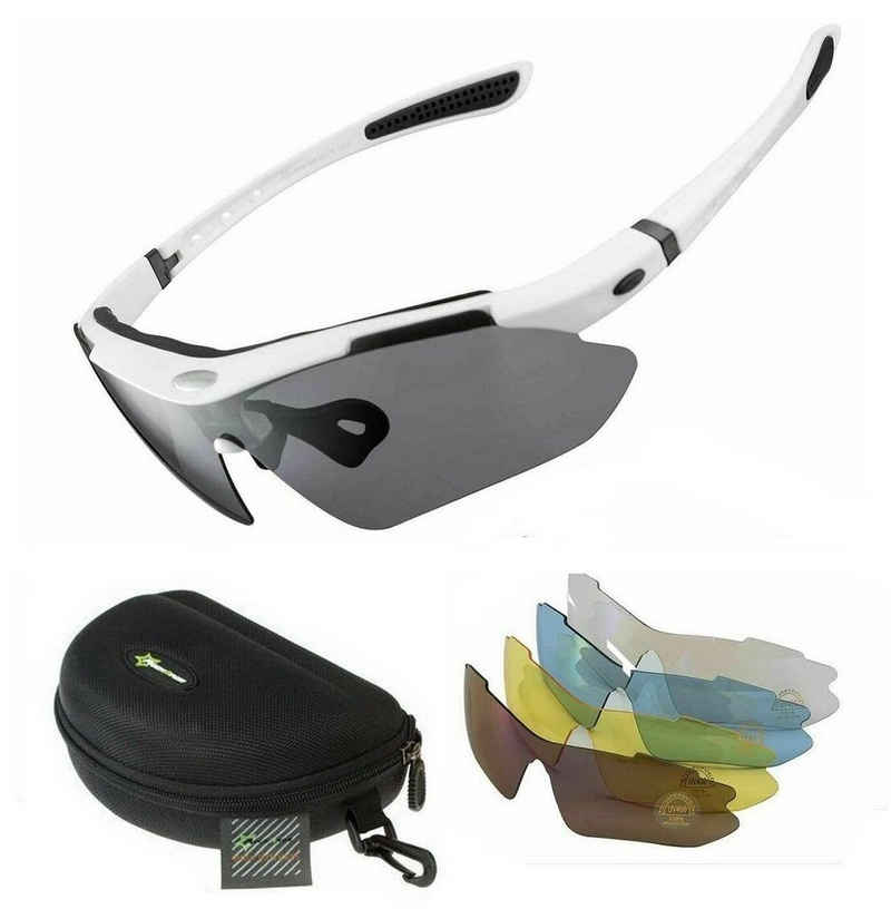 ROCKBROS Fahrradbrille »Fahrradbrille Polarisiert Sportbrille WHITE Sonnenbrille Brille UV400 + ETUI + 4 Ersatzgläser«
