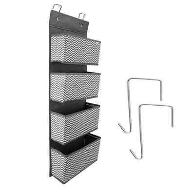 Navaris Hängeregal, Hängeorganizer mit 4 Fächern - hängendes Ordnungssystem Aufbewahrung - ohne Montage oder Bohrung - für jede reguläre Tür