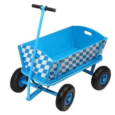 elasto Bollerwagen »Bavaria«, Luftbereifung, Max. 100kg Belastung, Handwagen aus Holz mit Eisengestänge, Lenkbare Vorderachse