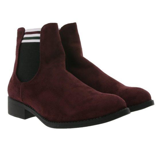 CITY WALK »City WALK Chelsea-Boots stylische Damen Herbst-Stiefelette Freizeit-Schuhe in Veloursleder-Optik Weinrot« Chelseaboots