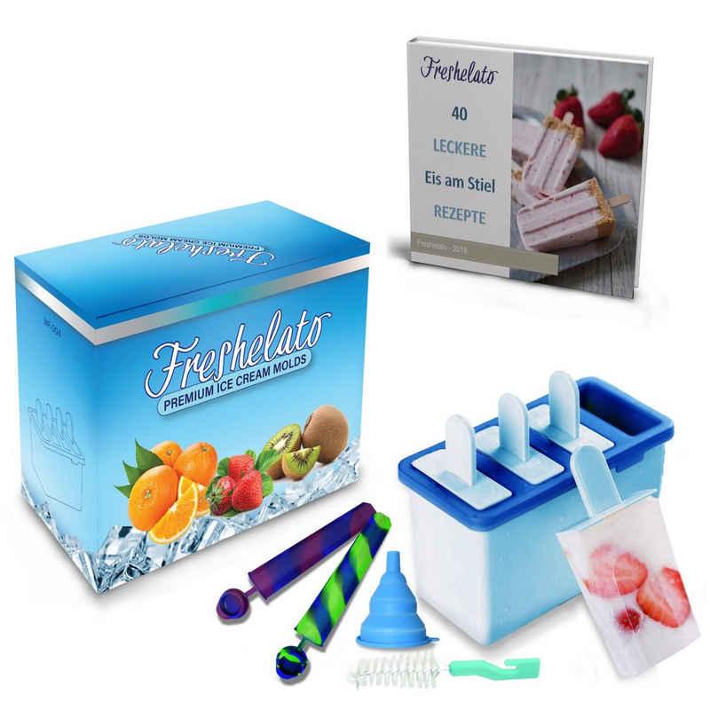 Freshelato Eisform »Eisformen Set + Trichter + Bürste + Rezepte E-Book«, (Set)