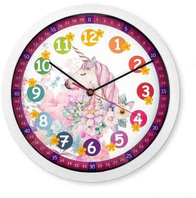 Wall-Art Wanduhr »lautlose Wanduhr Pferde Kinderzimmer Lernuhr Einhorn Uhr Ø 30cm Rosa Pegasus«