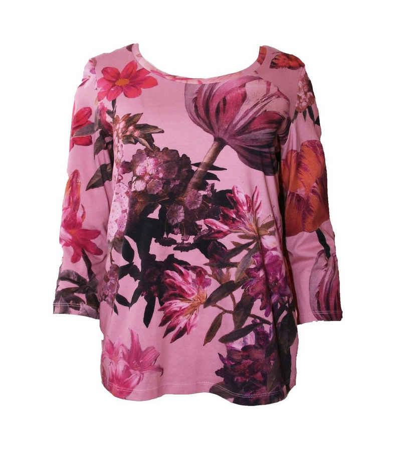 Margittes Shirttop »MARGITTES 3/4-Arm-Shirt geblümtes Damen Rundhals-Shirt mit Allover-Print Trend-Shirt Rosa«