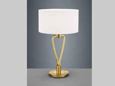 meineWunschleuchte LED Tischleuchte, Messing-farbig mit Schalter, Lampenschirm Stoff Weiß, Große Designer Lampe, Einflammig