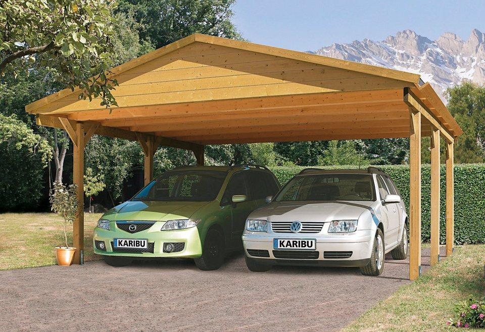 Set: Doppelcarport »Satteldach Classic«, kdi (BxT: 504x396 cm) in braun