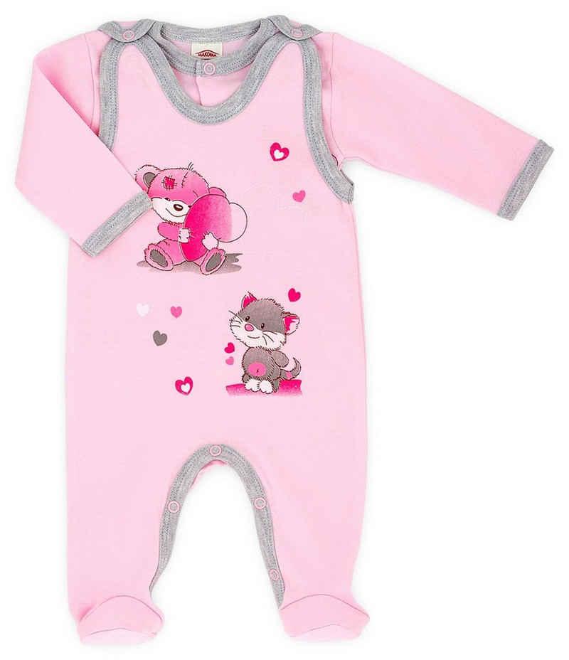 Makoma Strampler »Baby Erstausstattung Strampler-Set mit Langarmshirt für Neugeborene Mädchen Rosa« (Set, 2-tlg) 100% Baumwolle