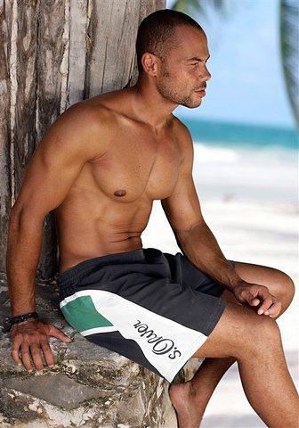 Herren s.Oliver RED LABEL Beachwear  Badeshorts mit Logo-Schriftzug schwarz | 06943746736830