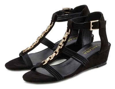 LASCANA Sandalette mit bequemen Keilabsatz und modischer Schmuckapplikation