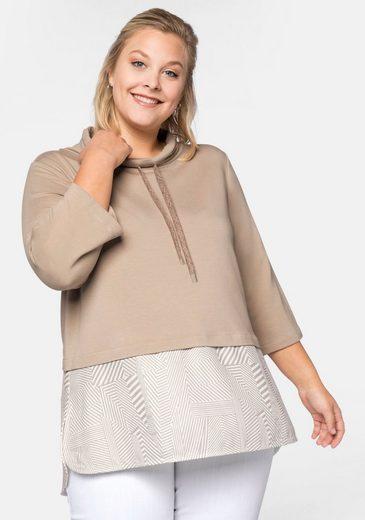 Sheego Sweatshirt mit Bluseneinsatz