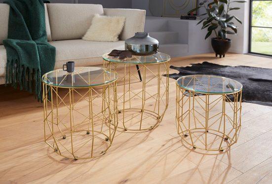 Leonique Beistelltisch »Eleonor« (3er-Set), mit Glasplatte und goldfarbenem Metallgestell