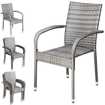 Casaria Gartenstuhl »Comfort« (4 Stück), platzsparend stapelbar • UV-beständiges Polyrattan • hohe Belastbarkeit • pulverbeschichtetes Stahlgestell