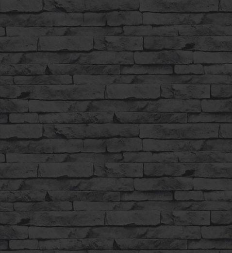Superfresco Easy Vliestapete »Steine/Wand«, Steinoptik, (1 St), Schwarz - 10m x 52cm