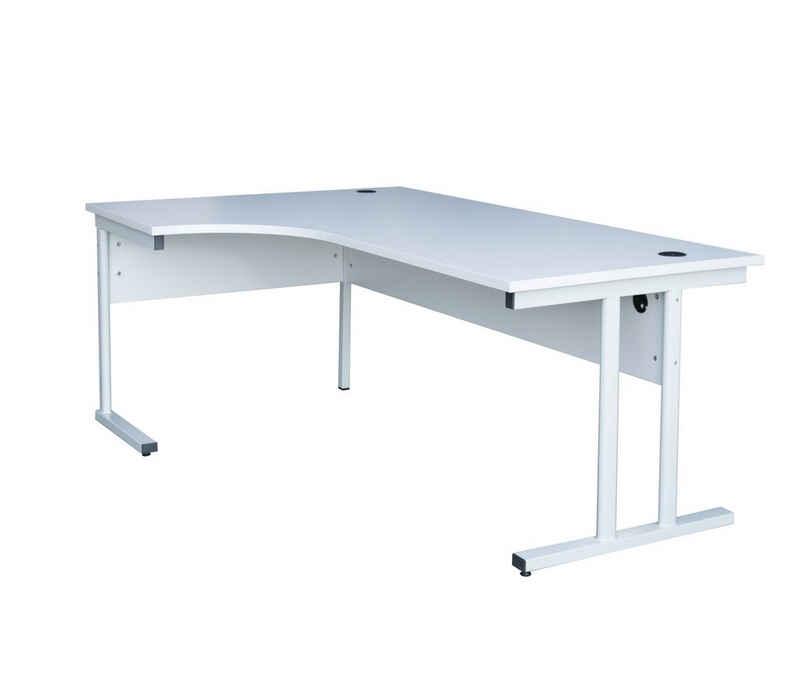 Steelboxx Aktenschrank »Freiformtisch ECO - Winkel links - T-Fuß - 730 x« (1-St) - 2 Kabeldurchlassdosen - Langlebiges, verschweißtes T-Fuß-Gestell - 25 mm melaminharzbeschichtete Holzspanwerkstoffplatte nach DIN 68765