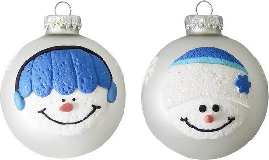 Krebs Glas Lauscha Weihnachtsbaumkugel »CBK70032« (4 Stück), mit Schneemann-Gesichtern