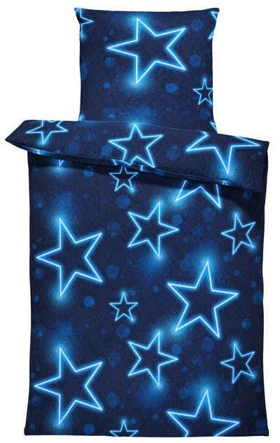Bettwäsche »Sterne«, One Home, leuchtoptik, flauschig warmes Thermofleece 2 Teilig