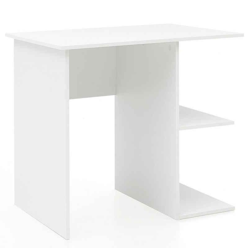 Wohnling Schreibtisch »WL5.757«, Computertisch Weiß 82 x 60 x 76 cm Kleiner Laptop PC Tisch Büro ohne Rollen Bürotisch mit Ablage Arbeitstisch Klein Nähtisch Kurz Modern