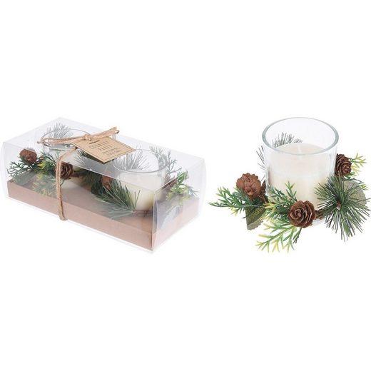 Koopmann Windlicht »2er-Set Kerze im Glas mit Deko-Kranz 5,5x6,5cm«