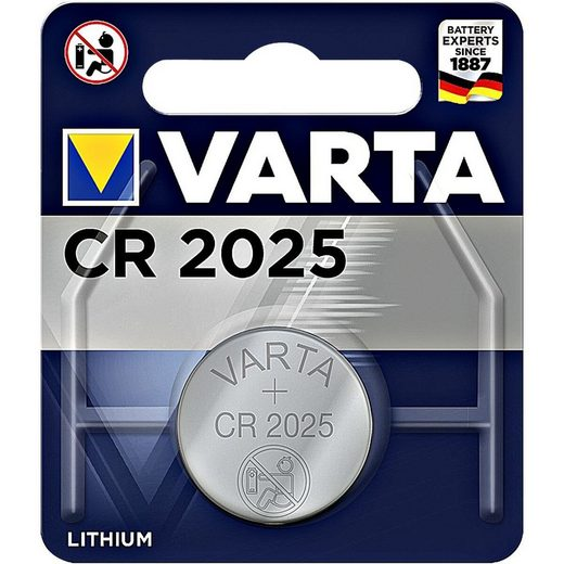 VARTA »ELECTRONICS« Knopfzelle, (1 St), CR2025, lange Lebensdauer