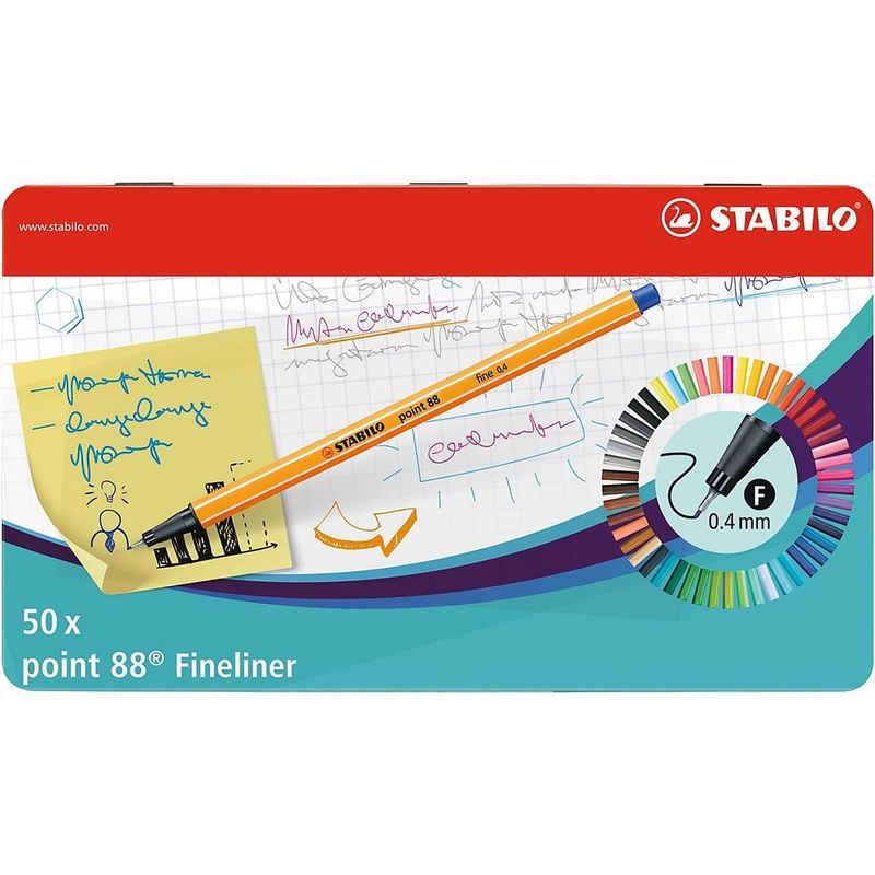 STABILO Fineliner »Fineliner point 88, 50 Farben im Metalletui«