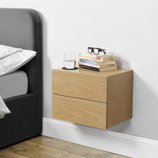 en.casa Hängeschrank »Amberg« Nachttisch Nachtschrank mit 2 Schubladen 40x29x30cm Holzoptik