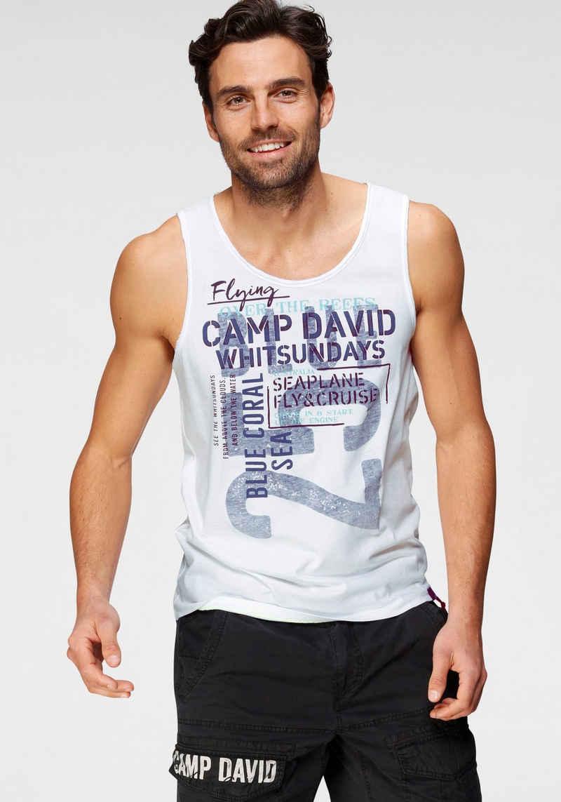 CAMP DAVID T-Shirt mit großem Logofrontprint