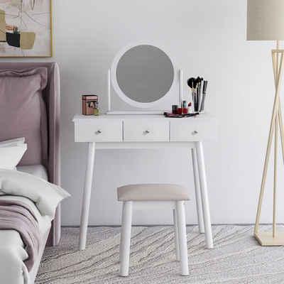 Flieks Schminktisch »Be Urself«, Make-up Tisch, Schminkkommode mit runden Spiegel & 3 Schubladen & Hocker, Holz Frisiertisch für Schlafzimemr, Weiß
