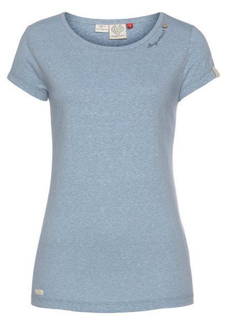 Ragwear Rundhalsshirt »MINT« mit geschwungenem Logoschriftzug und Zierknopf in natürlicher Holzoptik