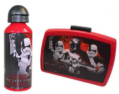 kamelshopping Lunchbox »2-tlg. Pausenset bestehend aus Brotdose und Trinkflasche«, Kunststoff, Aluminium, (2-tlg), 600ml Flasche, Doese mit Rennwand, Star Wars (The Last Jedi) Design