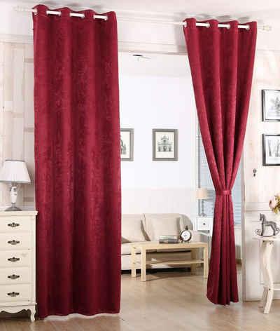 Gardine, Woltu, Vorhang Blickdicht mit Ösen,Damast Optik 1 Stück