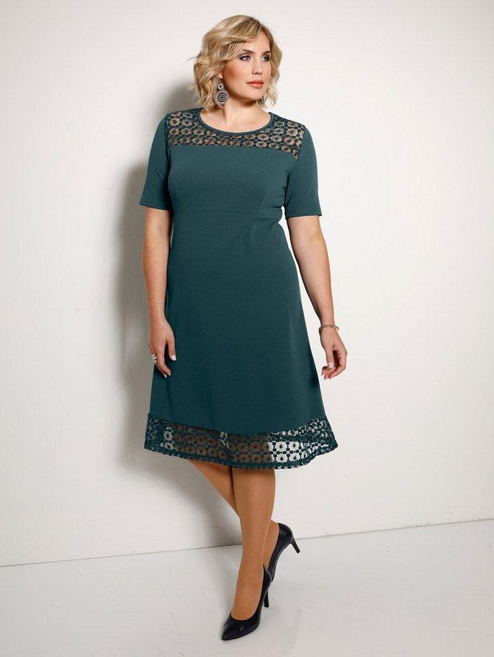 Festtagsmode - m. collection Kleid mit Spitzeneinsätzen › grün  - Onlineshop OTTO