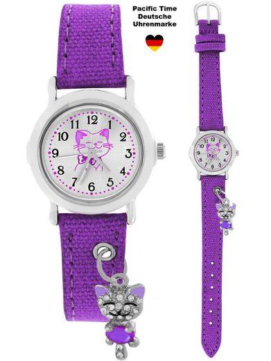 Pacific Time Quarzuhr »Armbanduhr Kinder Mädchen kleine Katze am Armband violett 87416«, funkelndes Kätzchen am Armband - Gratis Versand